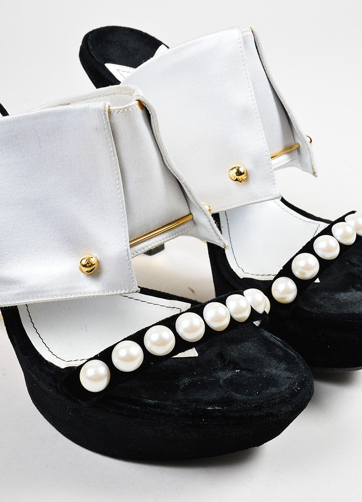 Black and White Chanel Satin and Velvet Faux Pearl Embellished Wedge Heel Mule Sandals Detail