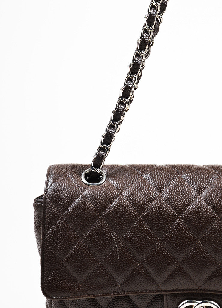 "Brown Chanel Quilted Caviar Leather ""Medium Double Flap"" Shoulder Bag Detail 2"