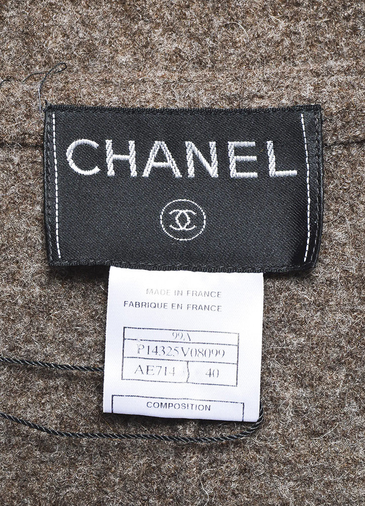 Chanel Brown Wool Textured Cuffed Zipped Jacket with Belted Pouch Brand