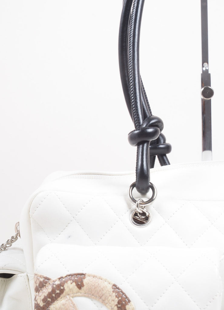"Chanel Cream Leather ""CC"" Quilted ""Ligne Cambon Reporter"" Satchel Shoulder Bag Detail 2"