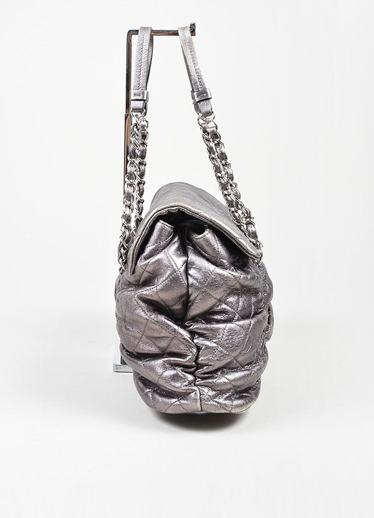 "Metallic Silver Leather Quilted Chanel ""Sharpei"" Flap Shoulder Bag Sideview"