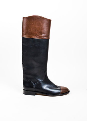 Black and Brown Chanel Leather Cap Toe Tall Riding Boots Sideview