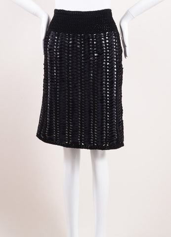 Chanel Black and White Woven Ribbon Crochet Knit Pencil Skirt Frontview