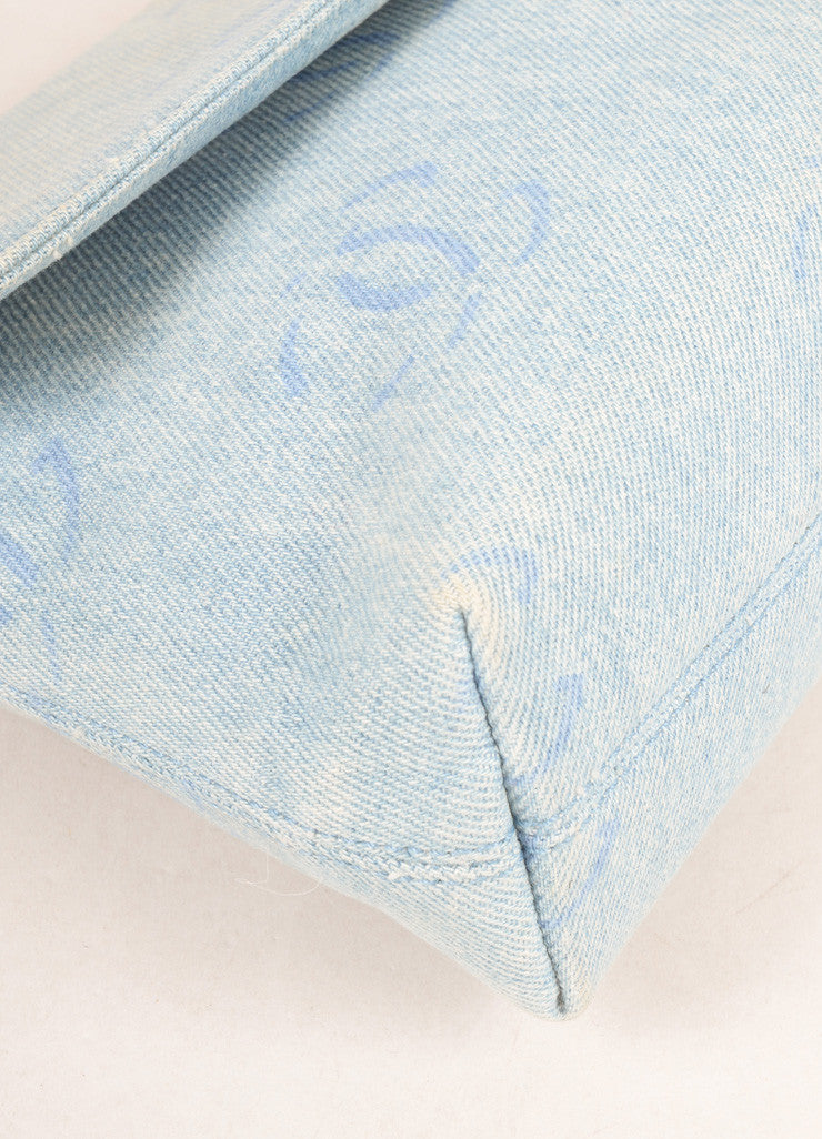"Chanel Pale Blue Denim ""CC"" Logo Clutch Bag Detail"