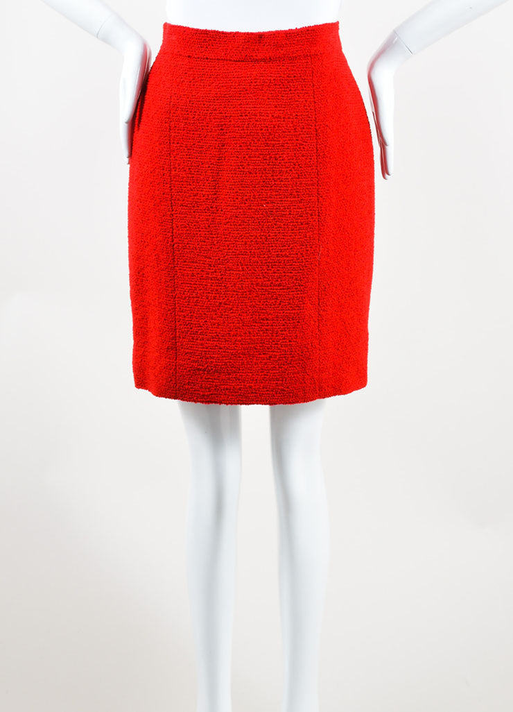 Chanel Red Wool Tweed Pencil Skirt Frontview
