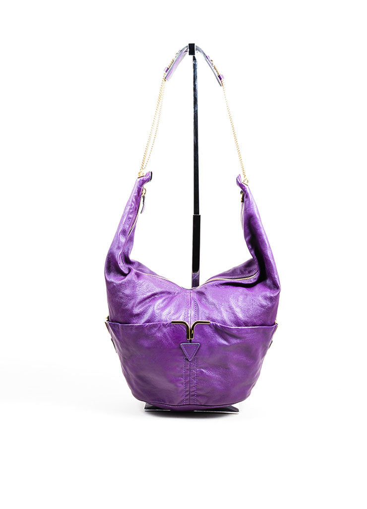 "Chloe ""Triple Chain Milton"" Purple Leather Hobo Shoulder Bag Frontview"