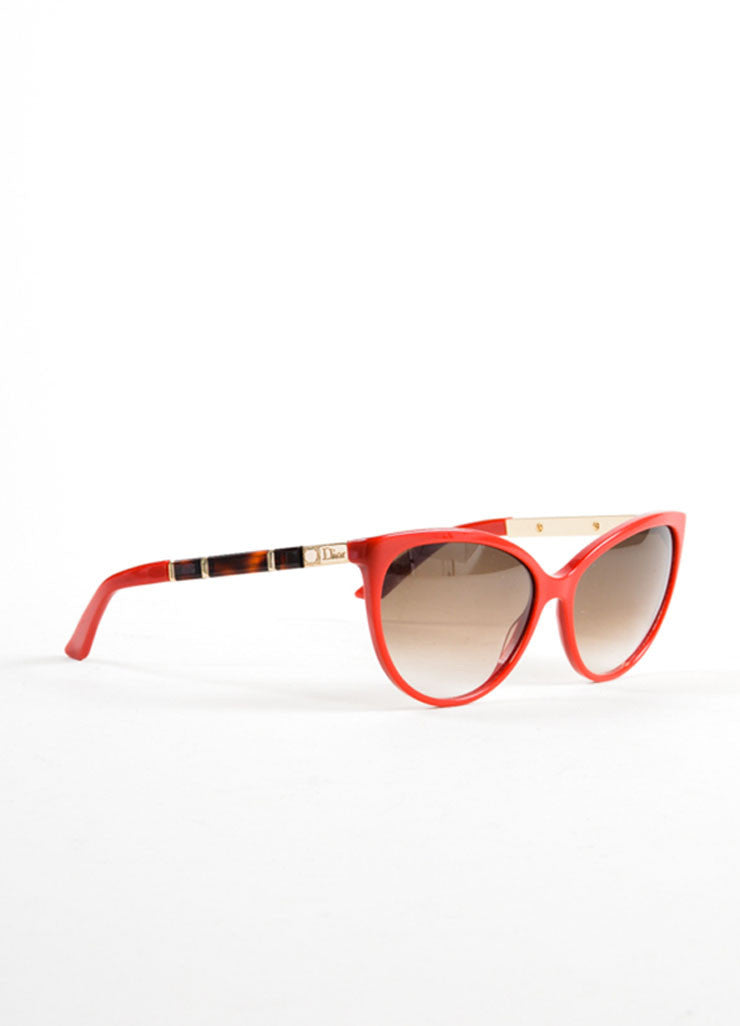 "Christian Dior Red, Tortoise, and Gold Toned Cat Eye ""Zeli"" Sunglasses Sideview"