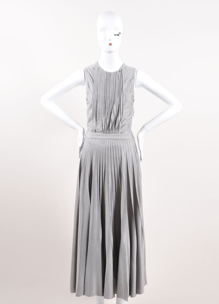 Christian Dior Grey Silky Knit Pleated Maxi Dress Frontview