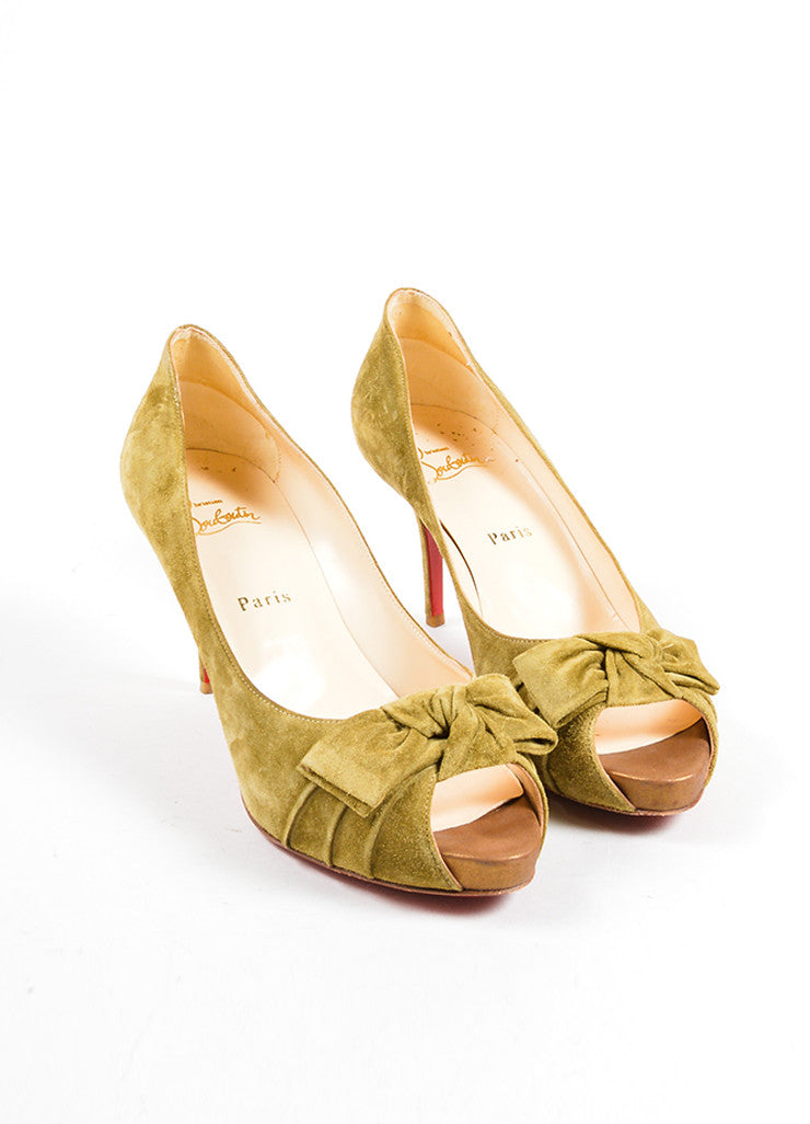 Christian Louboutin Light Olive Green Suede Peep Toe Bow Pumps Front