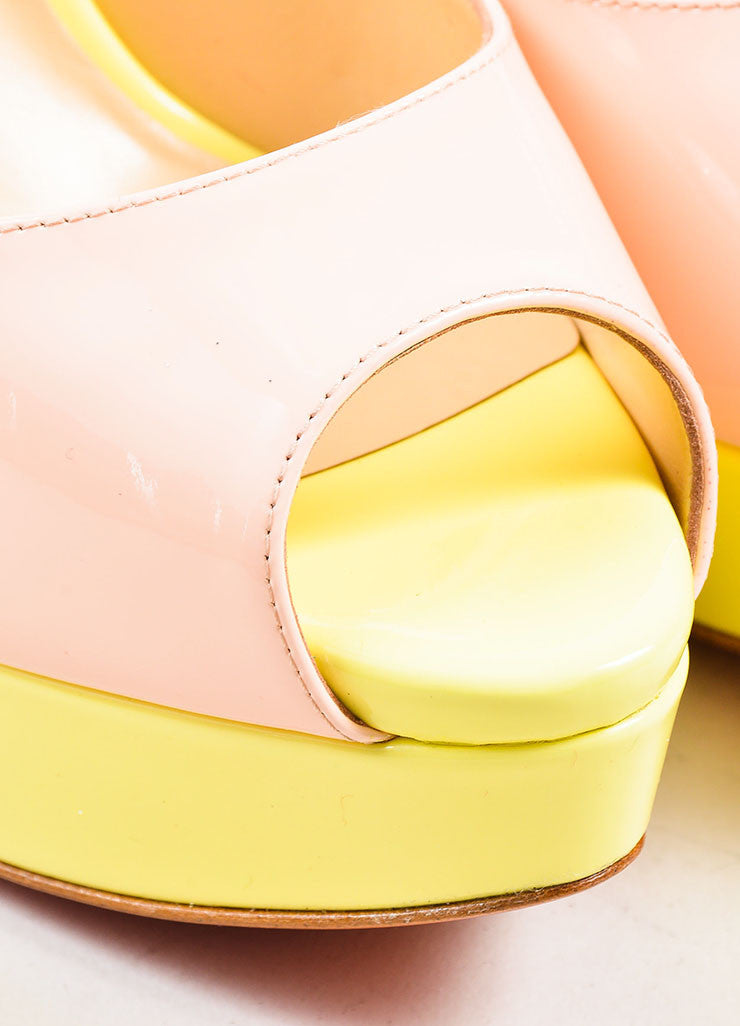 "Yellow and Pink Christian Louboutin Patent Leather ""Lady"" Platform Pumps Detail"