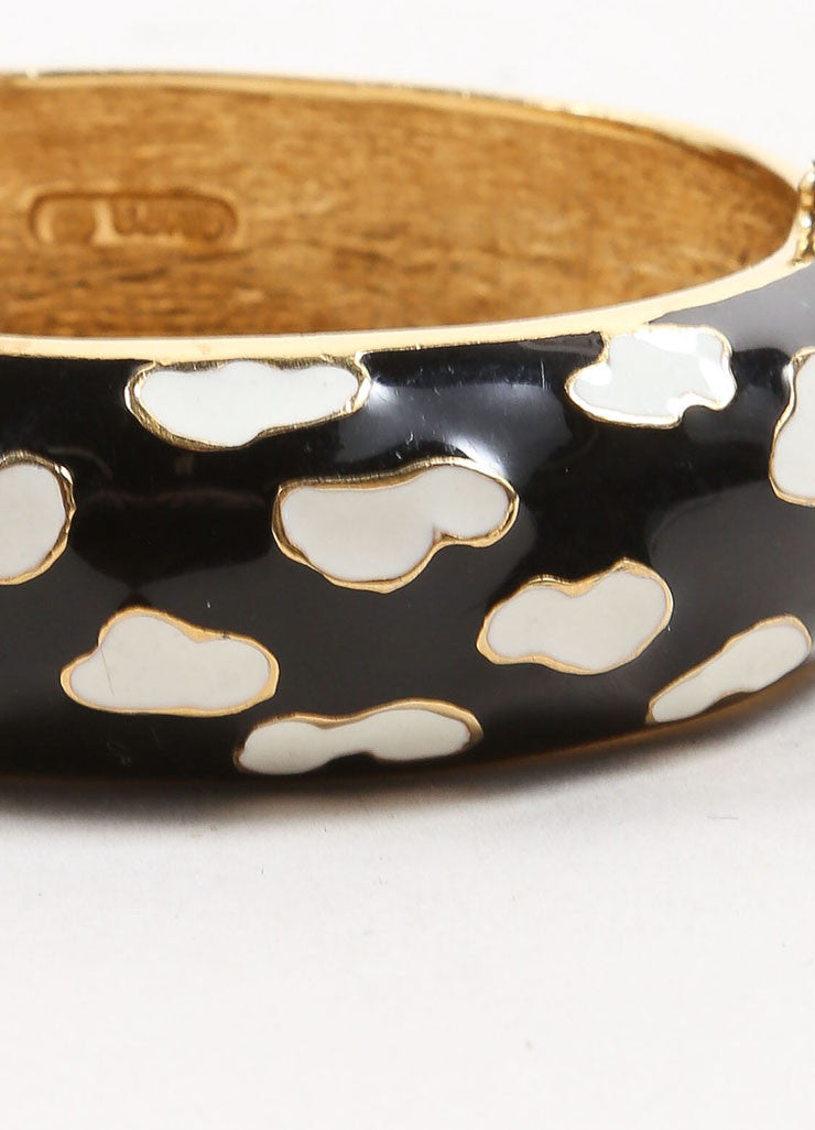 Ciner Gold Toned, Black, and White Enamel Patterned Hinge Bangle Bracelet Detail