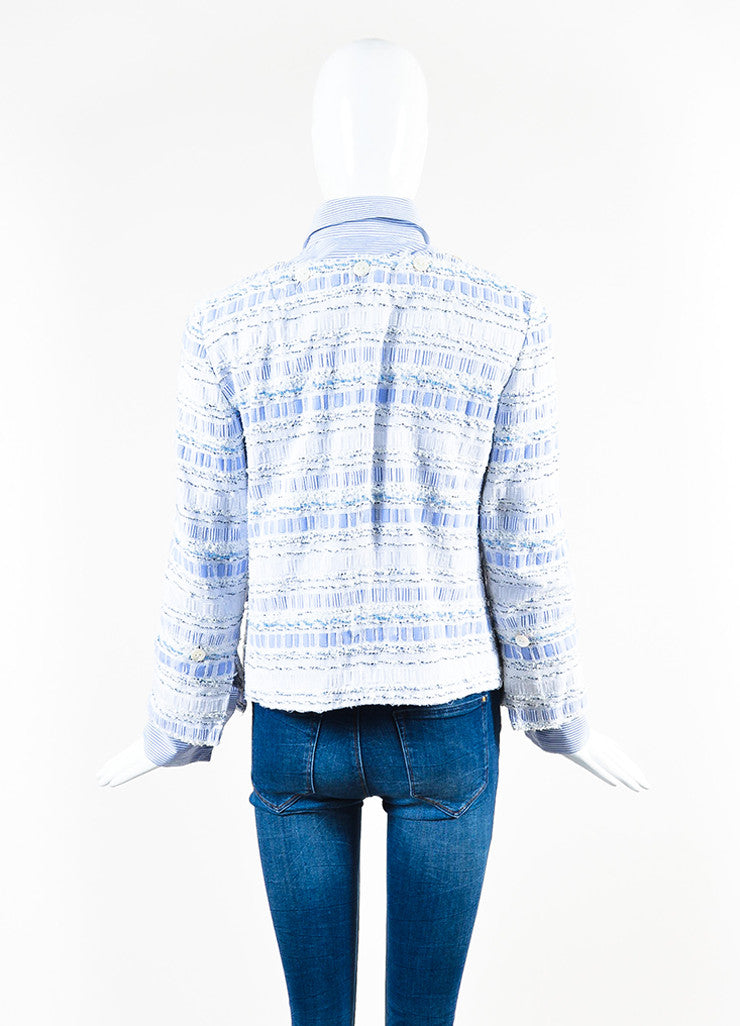 Dolce & Gabbana Blue and White Poplin Removable Tweed Long Sleeve Shirt Jacket Backview