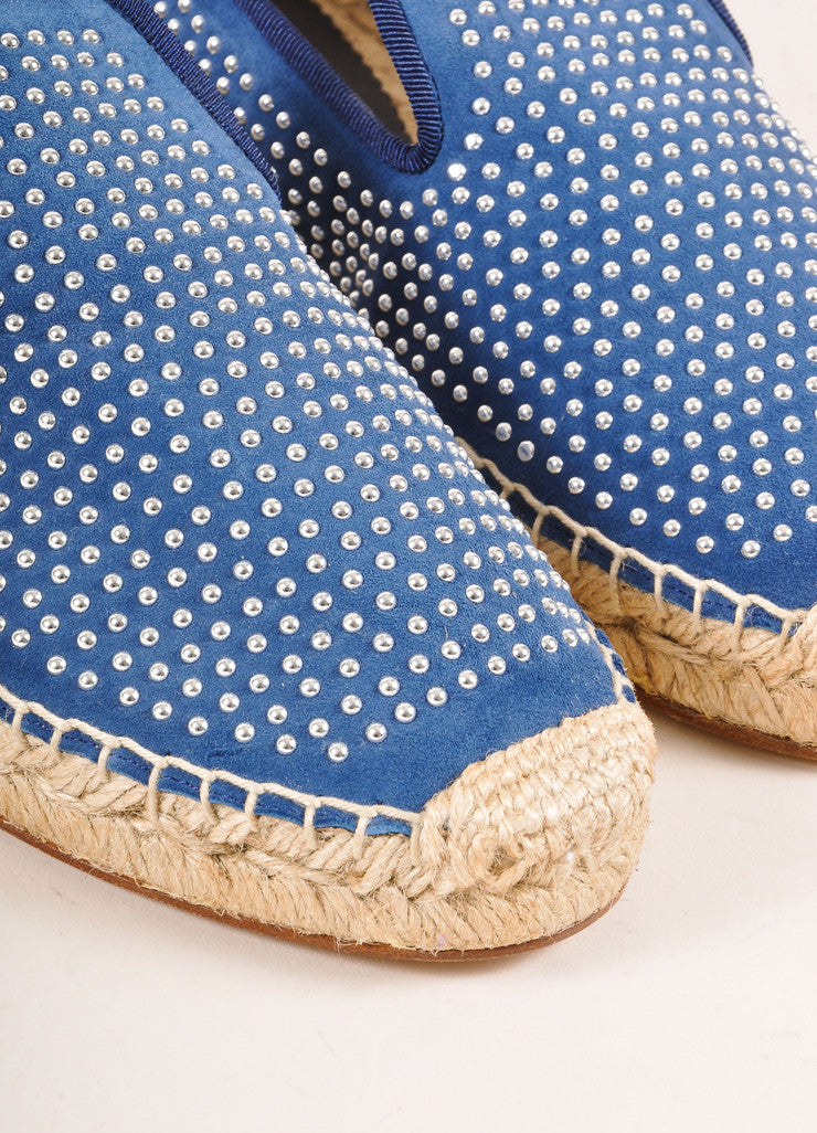 Elyse Walker New In Box Blue Suede and Silver Toned Studded Espadrille Flats Detail