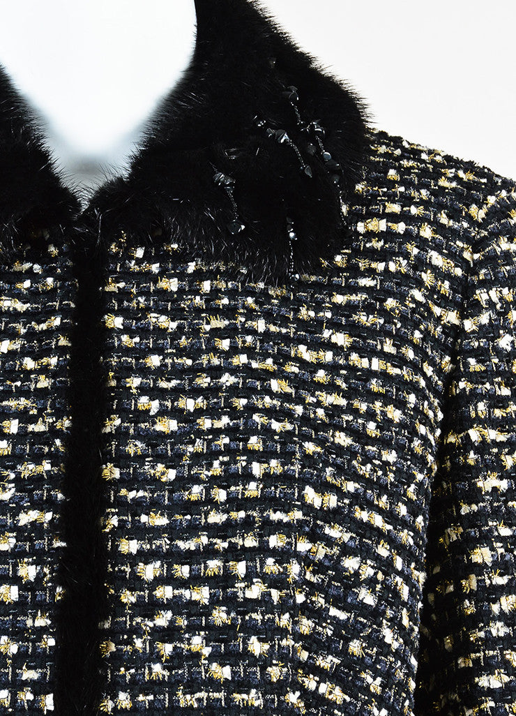 Black and Gold Escada Couture Tweed Mink Fur Trim Beaded Jacket Detail
