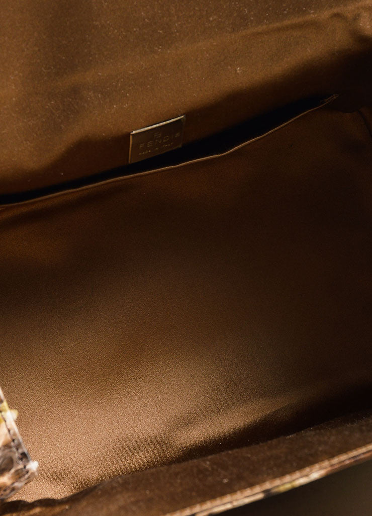 Brown and Beige Fendi Python Leather Box Bag Interior