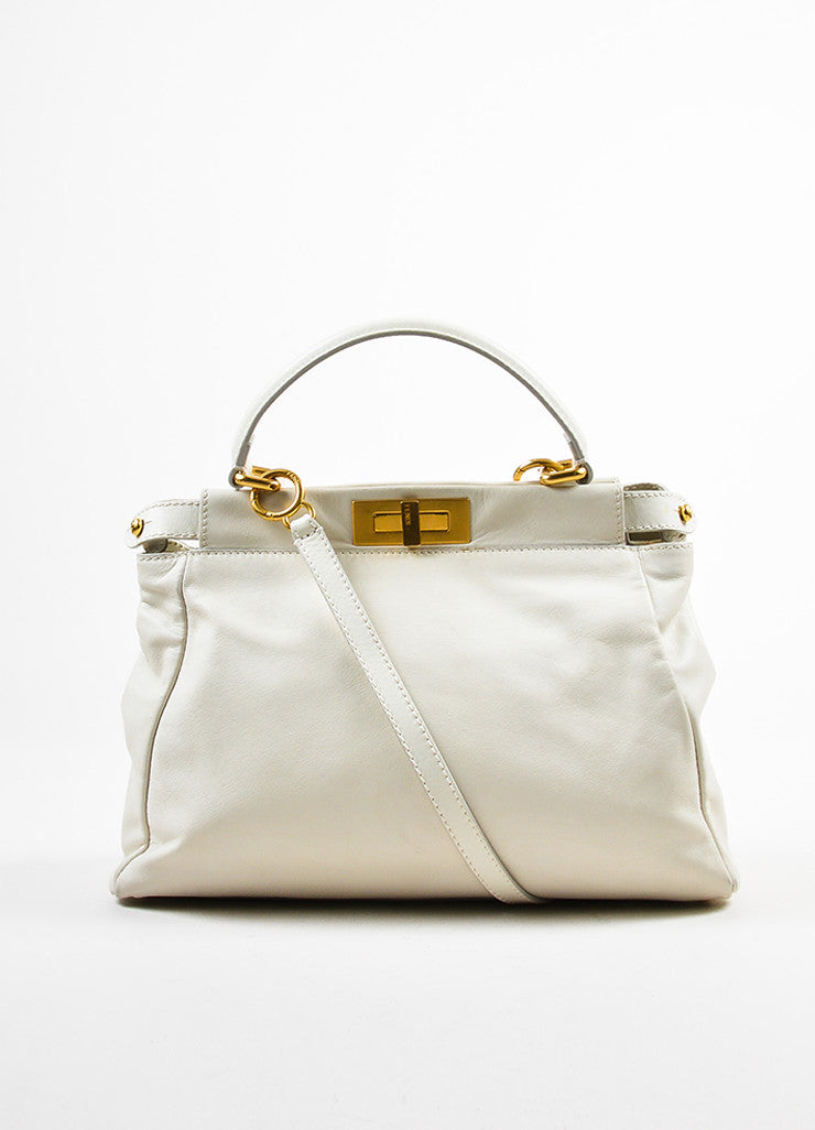 "Cream Leather and Gold Toned Fendi ""Medium Peekaboo"" Satchel Shoulder Bag Frontview"