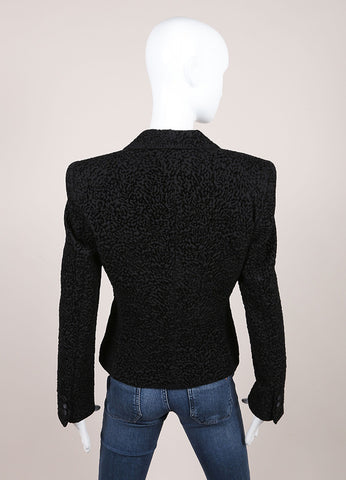 Giorgio Armani Black Textured Blazer Backview