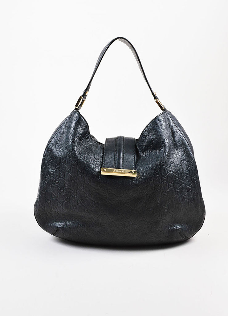 "Gucci Black Guccissima Embossed Leather ""New Web"" Hobo Bag Frontview"