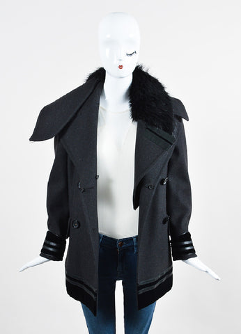 Grey and Black Gucci Wool and Fur Velvet Trim Double Breasted Coat Frontview