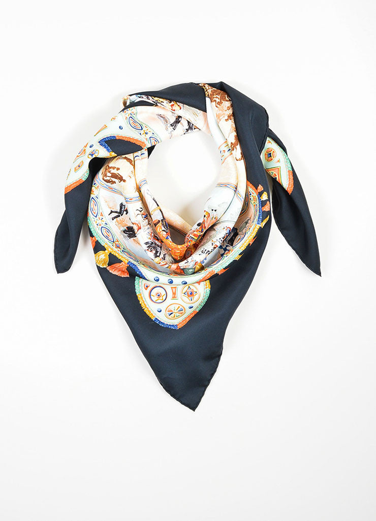 "Multicolor Hermes Silk Twill Graphic Print ""Cavaliers Peuls"" 90cm Scarf Frontview"