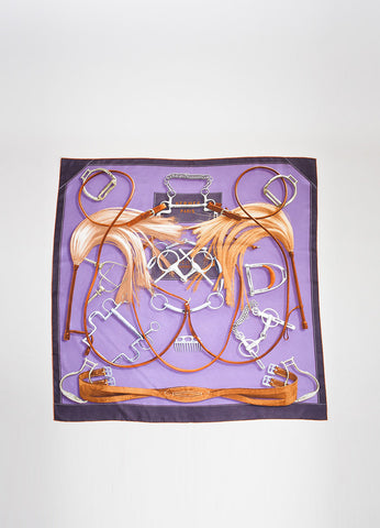 "Purple and Brown Hermes Silk Twill Horse Equipment Print ""Projets Carres"" 90cm Scarf Frontview 2"