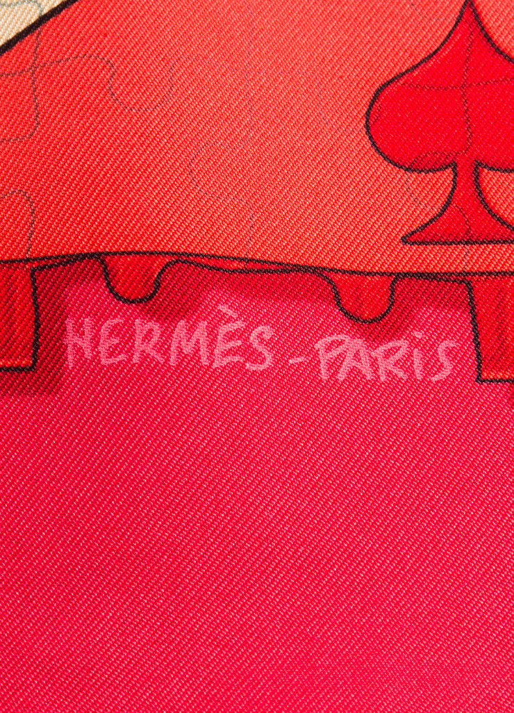 "Hermes Red Silk Twill ""Faites Vos Jeux"" Dice Board Game Print 90cm Scarf Brand"