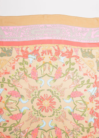 "Hermes Tan and Red Silk ""Early America"" Abstract Animal Print 140cm Sheer Scarf Detail"