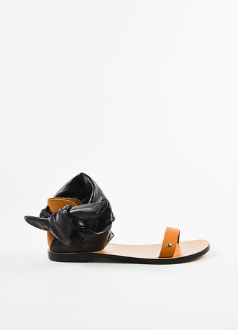 "IRO Black and Tan Leather Wrap Ankle Strap ""Megg"" Sandals Sideview"