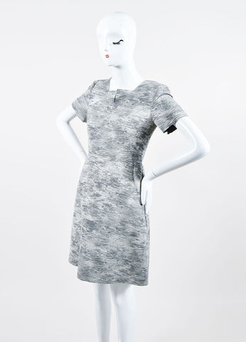 Grey Jason Wu Knit Jacquard Graphic Pattern Short Sleeve Dress Sideview