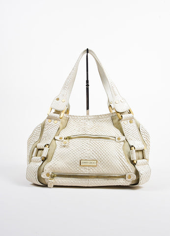 "Beige Jimmy Choo Python Suede ""Maddy"" Shoulder Tote Bag Front"
