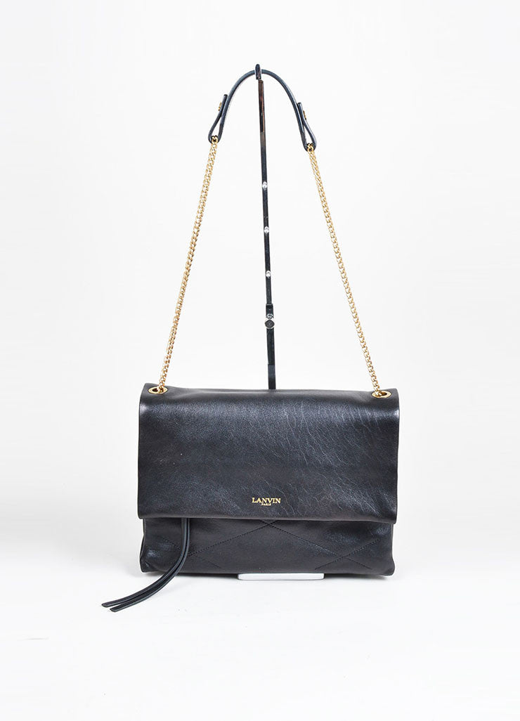 "Black and Gold Toned Quilted Leather Lanvin ""Sugar"" Chain Strap Flap Shoulder Bag Frontview"