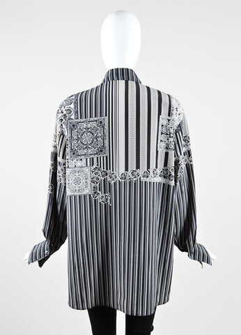 Louis Feraud Black and White Silky Baroque Stripe Print Button Up Blouse Top Backview