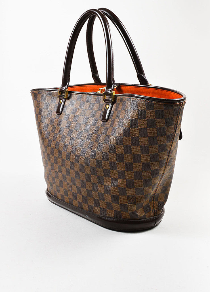 "Louis Vuitton Brown Coated Canvas Leather Trim Damier ""Manosque GM"" Tote Bag Sideview"