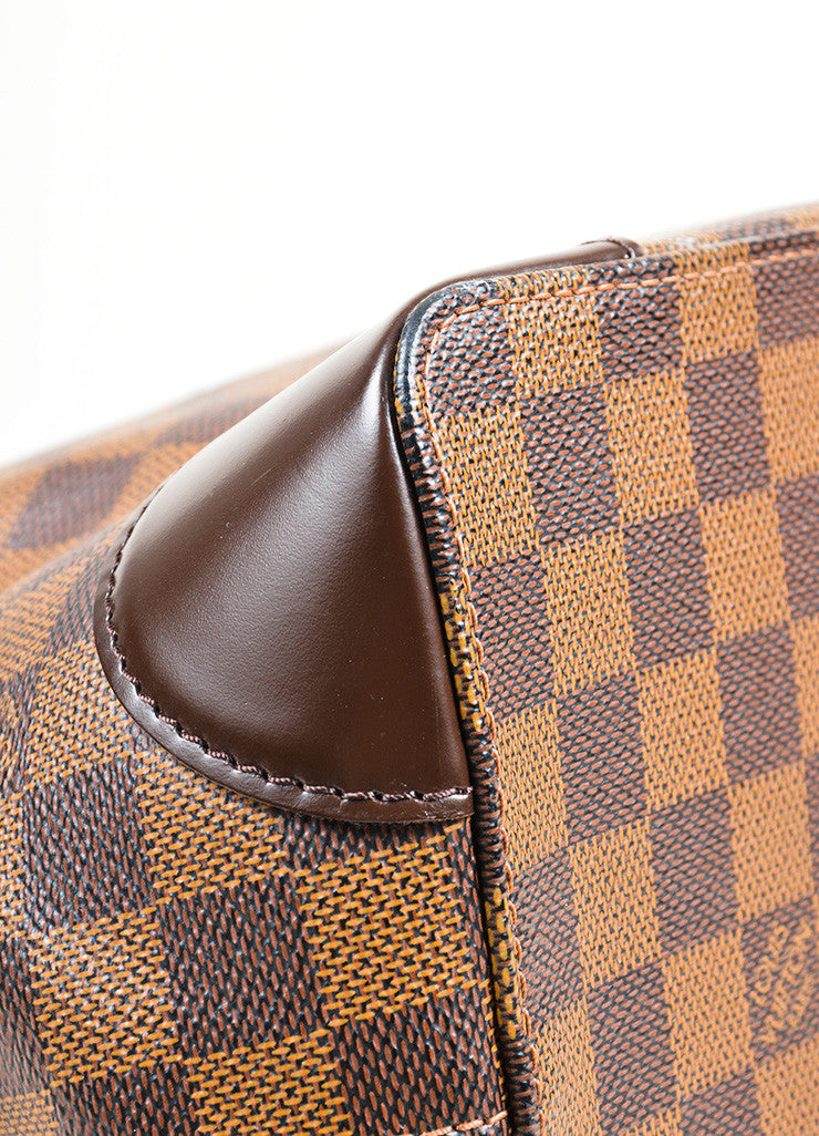 "Brown Louis Vuitton Damier Ebene Coated Canvas ""Hampstead MM"" Bag Detail"