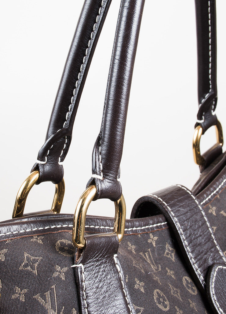 "Dark Brown and Tan Louis Vuitton Canvas Leather Monogram ""Idylle Elegie"" Tote Bag Detail 2"