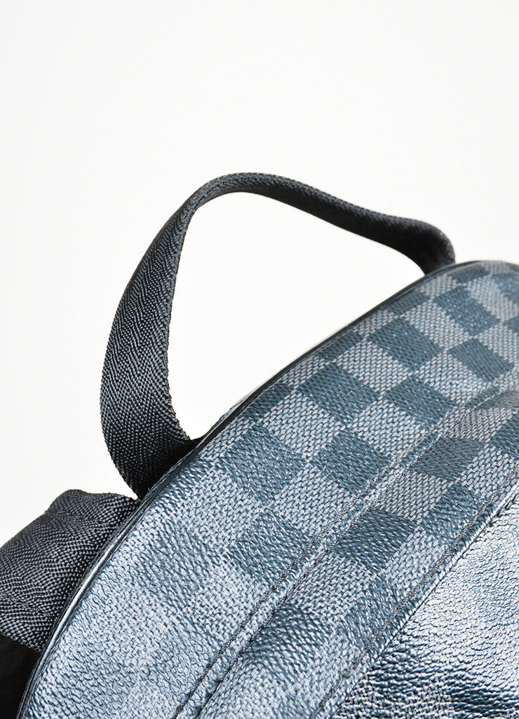 "Men's Louis Vuitton Black and Grey Coated Canvas Damier Graphite ""Michael"" Backpack Detail 2"