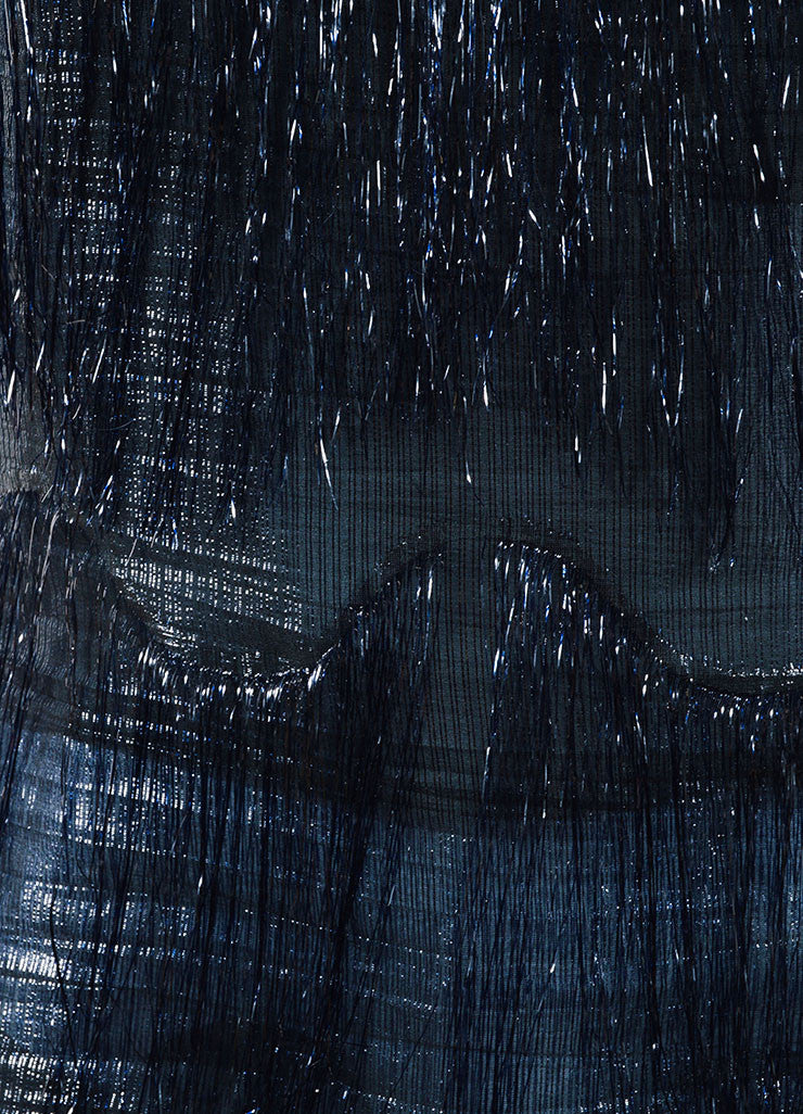 Maison Martin Margiela Black and Navy Metallic Fringe Sleeveless Top Detail