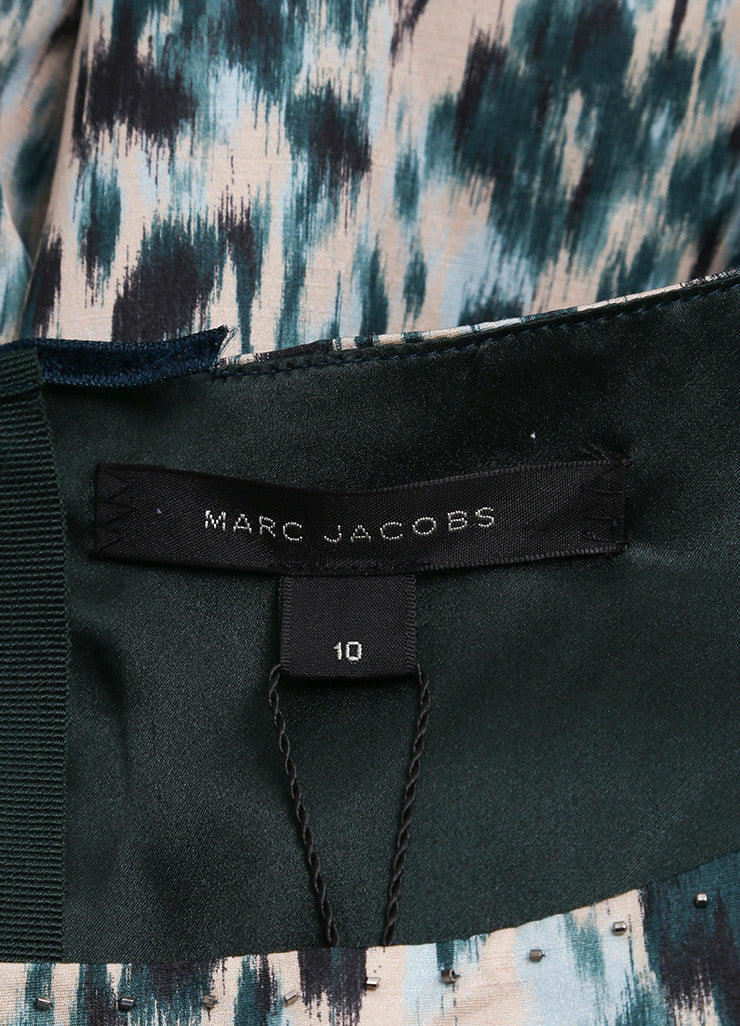 Marc Jacobs New With Tags Green and Multicolor Wool and Silk Printed Crop Sleeve Dress Brand