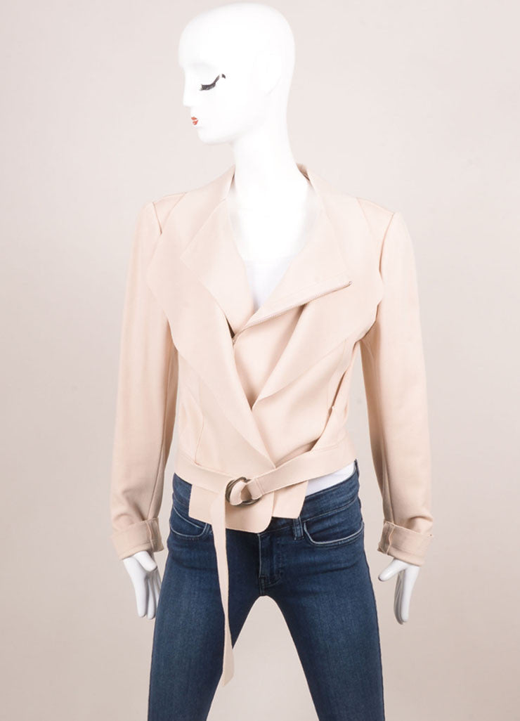 Marie Saint Pierre Blush Pink Knit Long Sleeve Moto Jacket Frontview