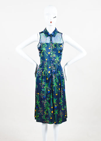 "Marissa Webb Navy and Green Silk Floral Sheer ""Allison"" Buttoned Dress frontview"