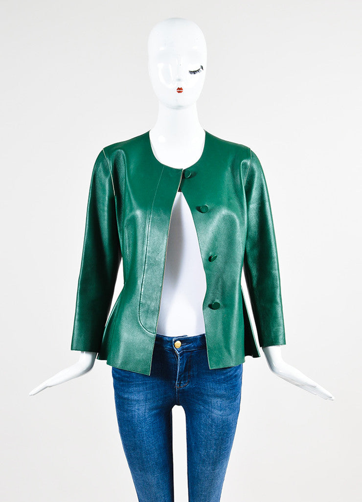 Marni Green Leather Peplum Jacket Frontview