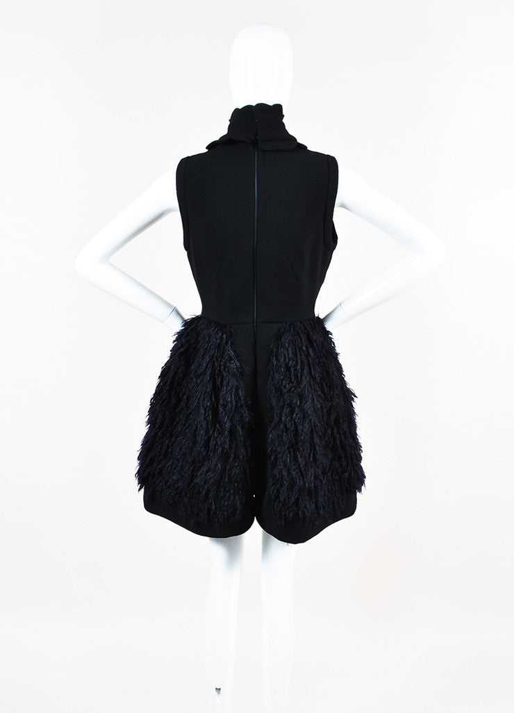 Black and Navy Blue Miu Miu Wool and Mohair Detachable Collar Sleeveless Dress Backview