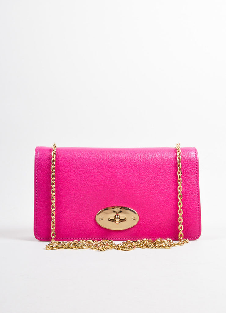 "Mulberry Pink Leather Chain Strap ""Bayswater"" Convertible Shoulder Bag Frontview"