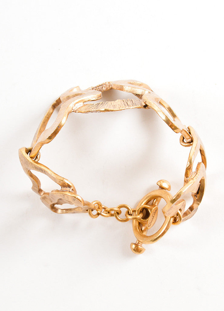Oscar de la Renta Gold Toned Wavy Cut Out Link Oversized Bracelet Topview