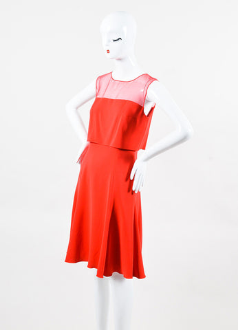 Oscar de la Renta Red Silk Sheer Bodice Layered Flare Dress Sideview