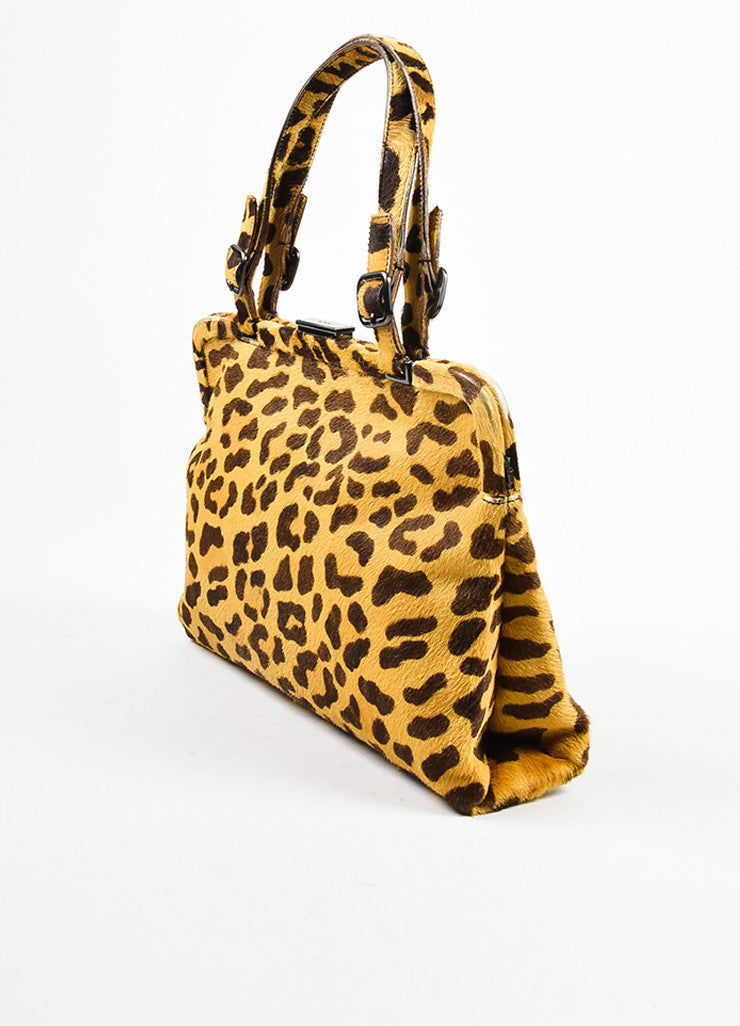Prada Brown Tan Prada Leopard Print Pony Hair Top Handle Frame Bag Side
