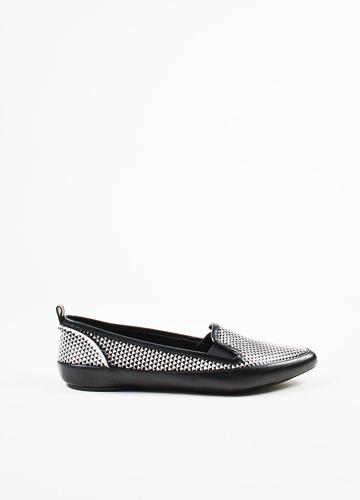 Black and White Proenza Schouler Leather Printed Pointed Toe Flats Side
