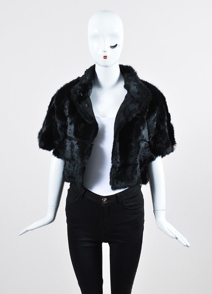Black Red Valentino Rabbit Fur Cap Sleeve Cropped Jacket Frontview