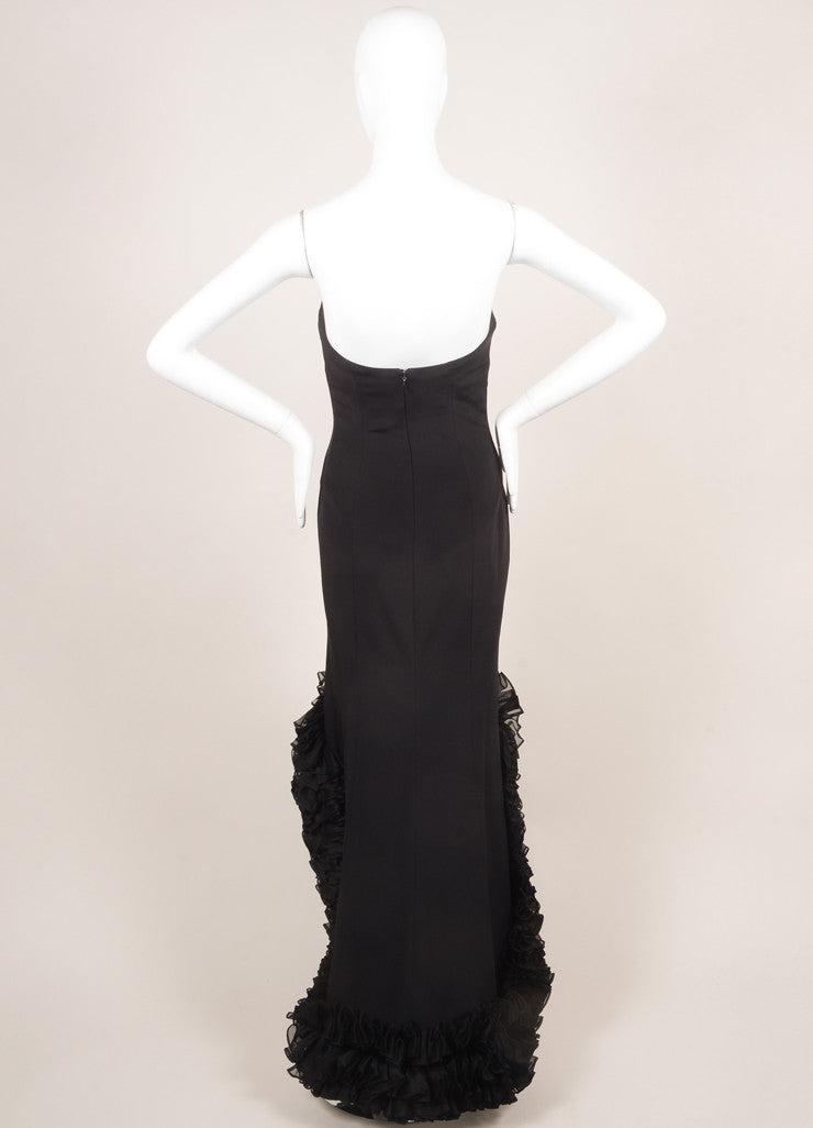 Roland Nivelais Black Silk Ruffle Hi Low Hem Strapless Gown Backview