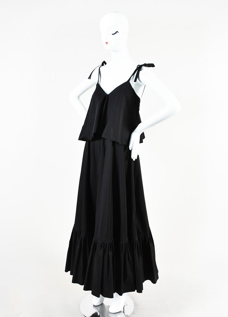 Salvatore Ferragamo Black Cotton Ruffled Sleeveless Maxi Dress Sideview